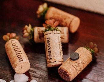 rustic wedding favors for guests - faux succulent favors - wine cork fridge magnets - refrigerator magnet - wedding guest gift