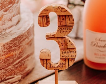 rustic wedding table numbers - wedding reception table decor - wine themed wedding