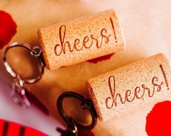 boho wine cork keychains - stocking stuffers for women - Secret Santa gift under 5
