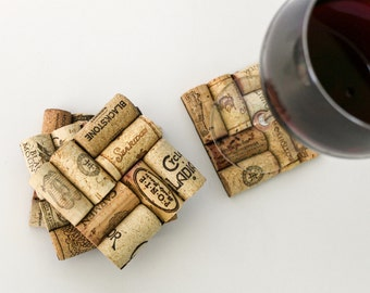 wine cork coasters - cup coasters - housewarming gift - wine gifts - gift for wine lovers - engagement gift - wedding gift - drink coasters
