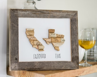 long distance gift for best friend - two state wall art - farmhouse decor