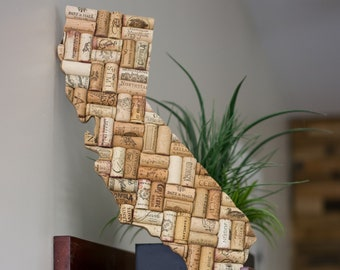california wall art - wine decor - state signs - wine gifts - cork art - state art - gift for wine lover - housewarming gift - state gift