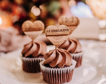 rustic wedding cupcake toppers - wedding decor and supplies - rustic wedding favors for guests