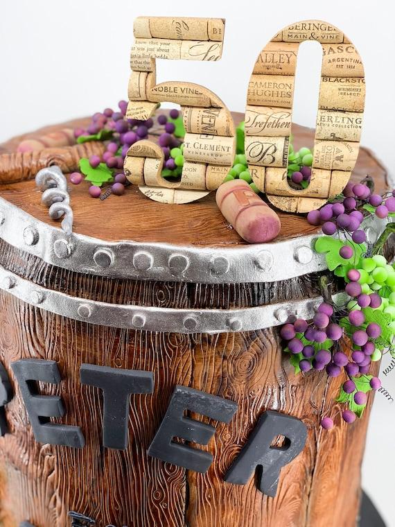 Peachy 50Th Birthday Cake Topper Wine Themed Birthday Party Decor Etsy Funny Birthday Cards Online Ioscodamsfinfo