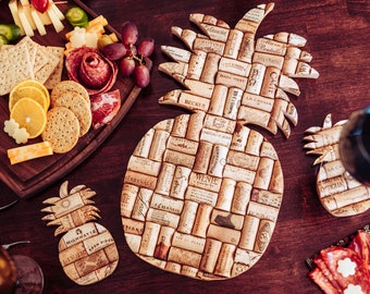 wine cork trivet and coasters set - rustic pineapple decor for the home - wine lover gift