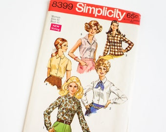 Vintage 1960s Womens Size 40 Blouses Simplicity Sewing Pattern 8399 FACTORY Folds / b44 w36