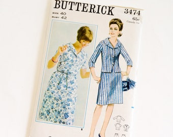 Vintage 1960s Womens Size 40 Two Piece Dress Butterick Sewing Pattern 3474 FACTORY Folds Sleeve Options Skirt Suit,  b42 w34