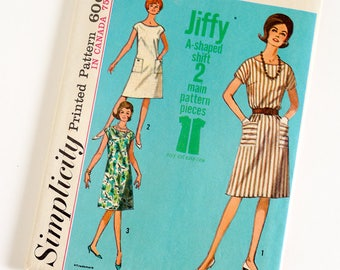 Vintage 1960s Womens Size 40-42 A-Line Jiffy Dress Simplicity Sewing Pattern 5960 UNCUT / b42-44 w34-36 / Round Neck Short Kimono Sleeve