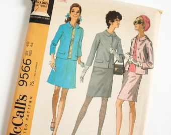 """Vintage 1960s Womens Size 40 Skirt Suit in Two Versions and Blouse McCalls 9566 Sewing Pattern FACTORY Folds, b44 w36"""""""