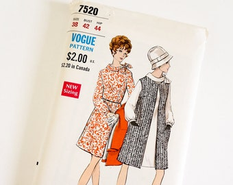 HTF Vintage 1960s Womens Size 38 Mod One Piece Dress and Sleeveless Coat Vogue Sewing Pattern 7520 FACTORY Folds / b42 w34