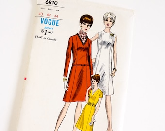 HTF Vintage 1960s Womens Size 40 A-Line Dress Vogue Sewing Pattern 6810 FACTORY Folds / b42 w34 / Sleeve Neckline Options, Optional Belt