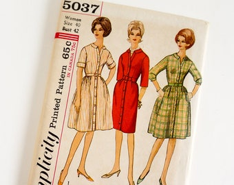 Vintage 1960s Womens Size 40 One Piece Dress with Two Skirts Simplicity Sewing Pattern 5037 FACTORY Folds / b42 w34 / Slim or Full Skirt