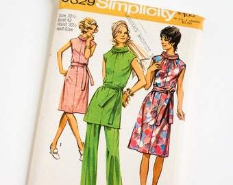 Vintage 1970s Womens Size 20.5 Dress or Tunic and Pants Simplicity Sewing Pattern 9329 FACTORY Folds / b43 w36.5