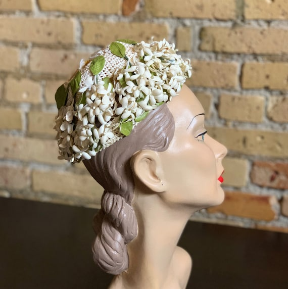 Vintage 1950s Womens Hat, Straw Cap with Flower A… - image 1