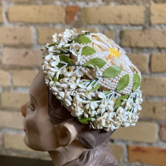 Vintage 1950s Womens Hat, Straw Cap with Flower A… - image 5