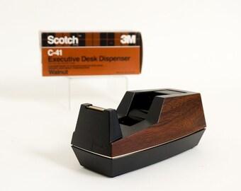 Vintage 1970s Scotch 3M Executive Desk Tape Dispencer NOS Walnut Faux Bois Brown Black Built-In Drum High Impact Construction Office Supply