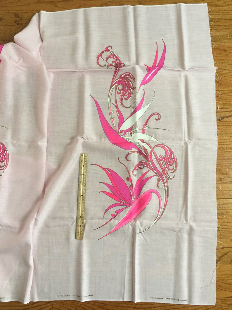 Vintage 1960s Alfred Shaheen Fabric NOS  Double Printed Panel Hand Printed in Hawaii  Pink Linen Bird of Paradise Flowers