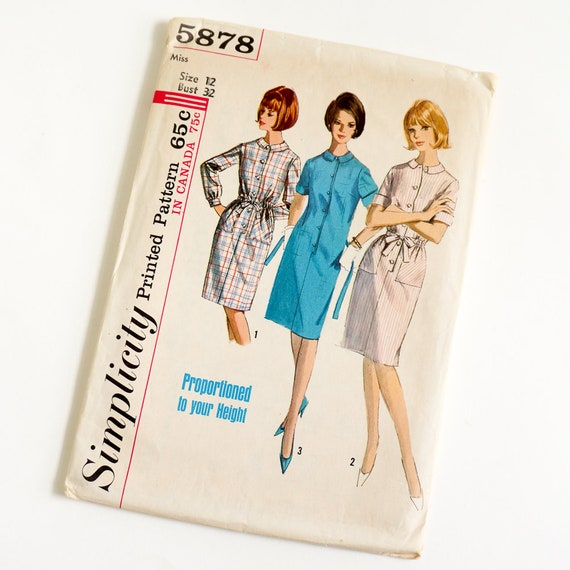 Vintage 60s Womens Size 60 Shift Dress In Proportioned Sizes Etsy Simple Shift Dress Sewing Pattern