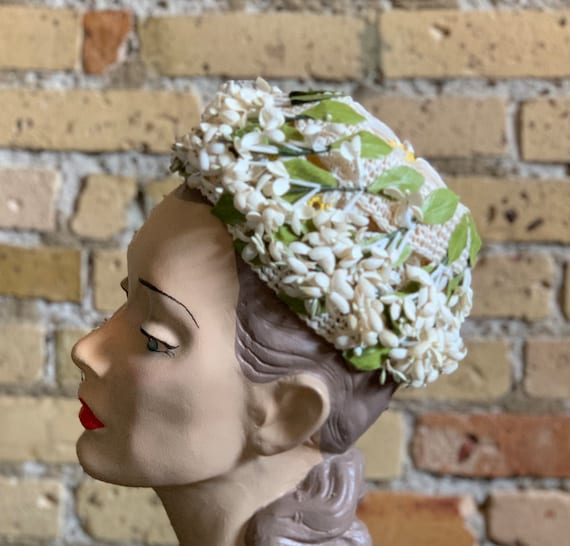 Vintage 1950s Womens Hat, Straw Cap with Flower A… - image 4