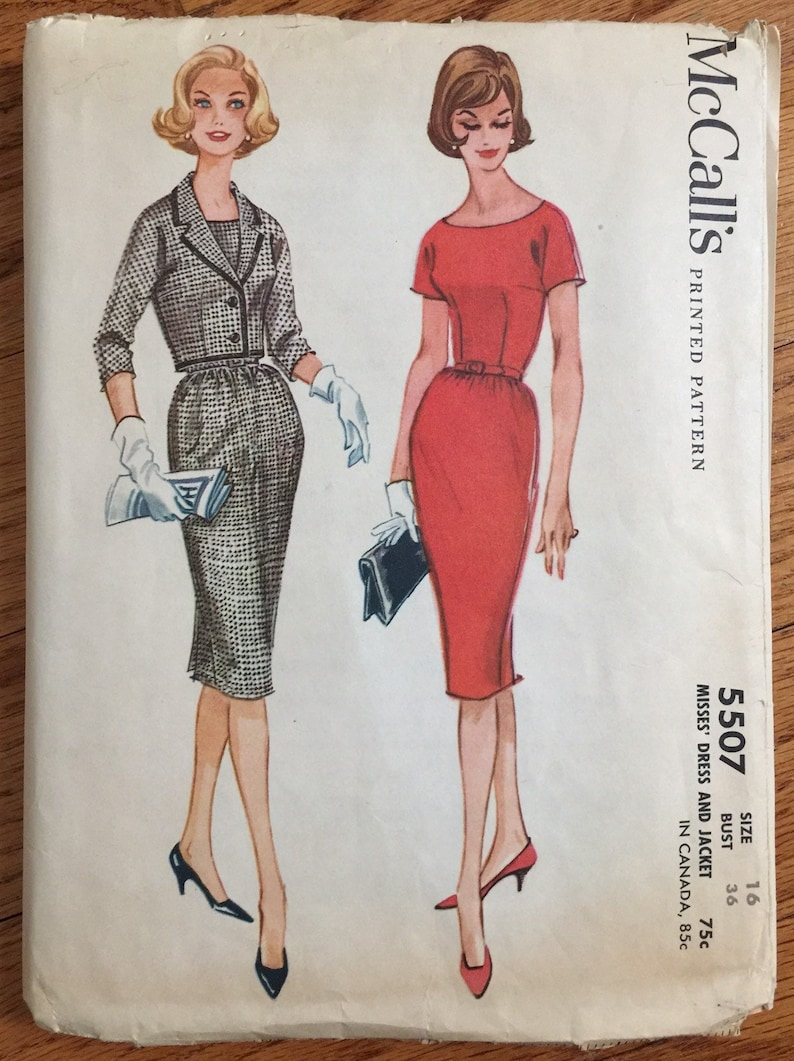 ca2bc06af7c Vintage 1960s Womens Size 16 One Piece Wiggle Dress and Jacket