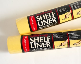 """Vintage 1980s Rubbermaid Smooth 'N Easy Yellow Plastic Shelf Drawer Liner 10'x12"""" NOS, Sold Individually"""