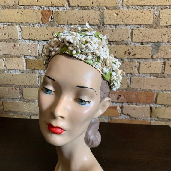 Vintage 1950s Womens Hat, Straw Cap with Flower A… - image 2