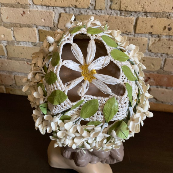 Vintage 1950s Womens Hat, Straw Cap with Flower A… - image 6