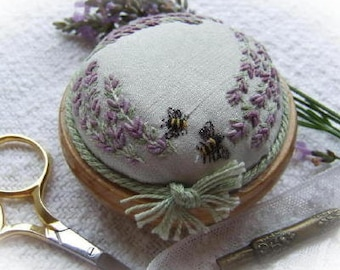 PP4 Lavender & Bees Pincushion - Pattern and Print (green dupion silk) Kit