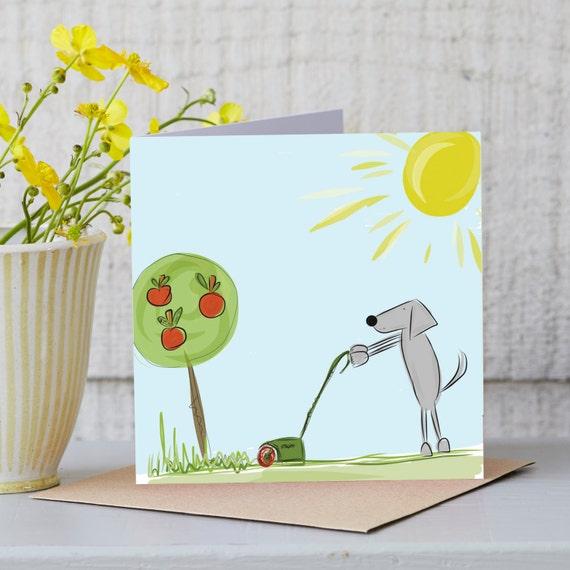 Lustige Karte Kettenrad Hund Mahen Rasen Etsy