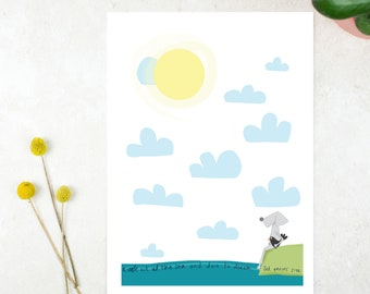 Look out at the sea and dare to dream - set yourself free - Weimaraner Print - Wanderlust Print