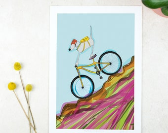 Mountain Bike Poster - Biking Poster - Biking Gift - Cycling Art - Apartment - Moon Art - Weimaraner Poster - Dog Art - Weimaraner Art - MTB