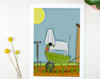 Allotment Poster - Gardening Poster - Gardening Gift - Nursery Art - Apartment - Gardening Art - Weimaraner Poster - Dog Art
