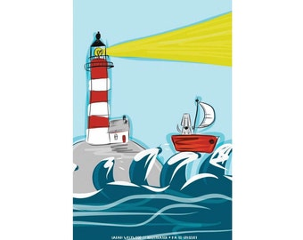 Dog Gift - Dog Lover Gift - Weimaraner Gift - Kitchen Towel - Sailing Gift - Coastal Poster - Dish Cloth - Flour Sack - Housewarming Gift