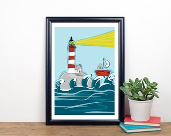 Guide Me Home Poster - Coastal Art - Seaside Poster - Boat Art - Lighthouse Poster - Funny Poster - Weimaraner Art - Funny Art - Art