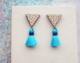Wooden Triangle Diamond Print Earrings with Blue Tassel