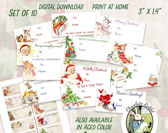 vintage style christmas gift tags printable christmas tags retro christmas clipart digital christmas labels handmade gift tags