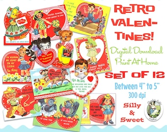 valentines vintage retro printable digital download set of 12 scrapbook childrens clip art cards 1950s gift tags collage sheet images