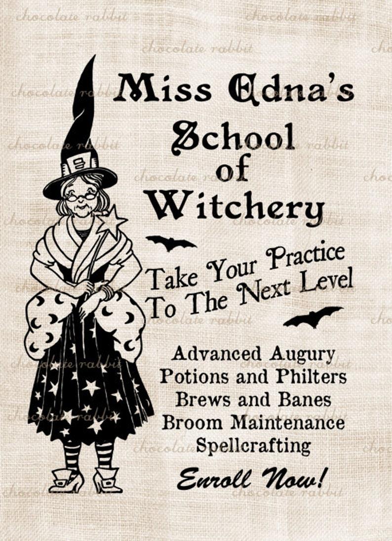 École Vintage Halloween sorcière téléchargement numérique Clip image 0