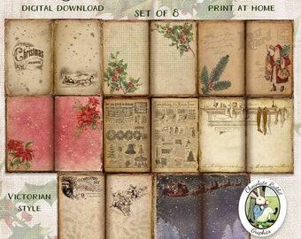 Vintage Christmas Journal Pages, Printable Ephemera, Digital Holiday Scrapbook Clipart