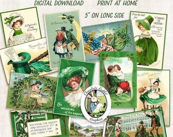 Vintage St. Patricks Day Postcards, Digital Download, Printable St. Patricks Cards, St. Patricks Collage Sheet, Image Transfer