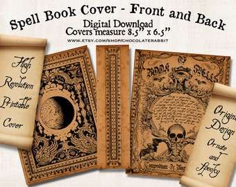 Halloween Witch Spell Book Cover, Printable Junk Journal Cover, Scrapbook Ephemera Digital Download