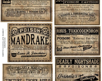 Potion Bottle Labels Halloween Witch Poison Apothecary Vintage Style Digital Download Printable Collage Sheet Tags Clip Art Graphic Images