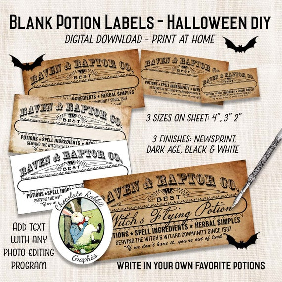diy blank potion bottle labels halloween clipart apothecary etsy