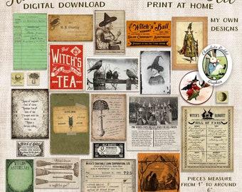 Halloween Witch Ephemera Kit, Junk Journal Digital Download, Vintage Spell Book Clip Art