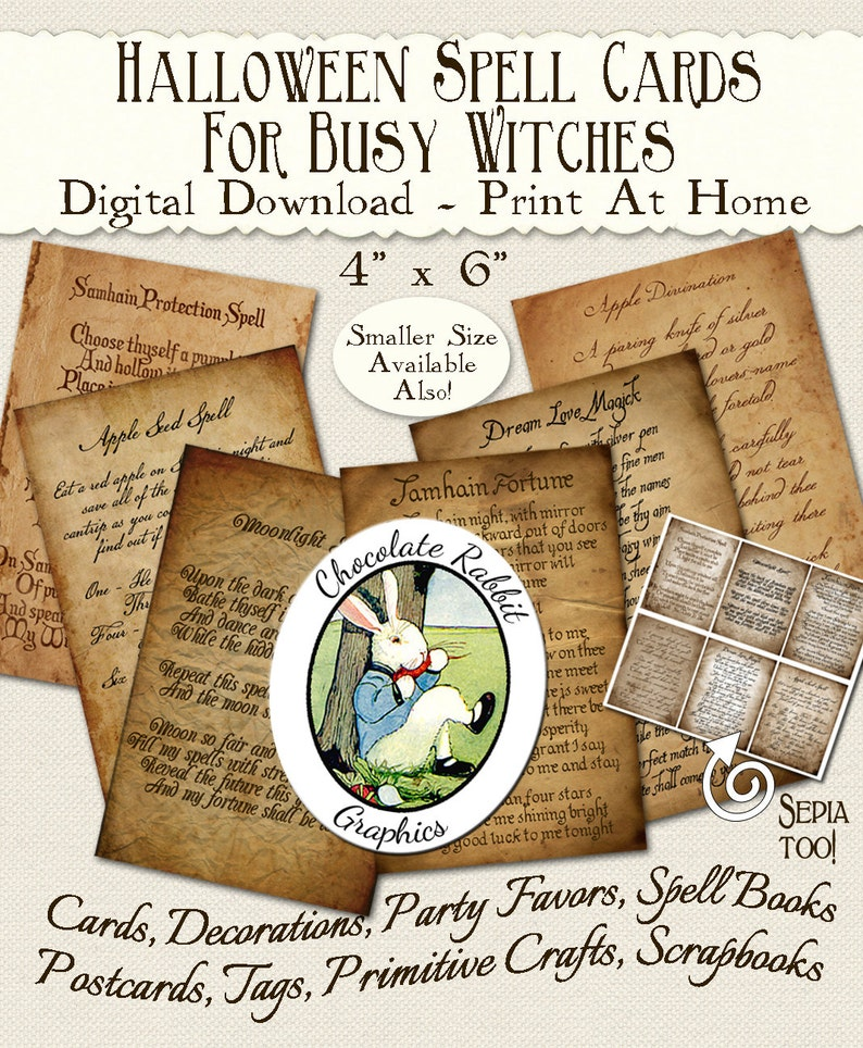 Spell Cards Halloween Witch Digital Download Printable Clip Art Scrapbook  DIY Clipart Images Tags Collage Sheet