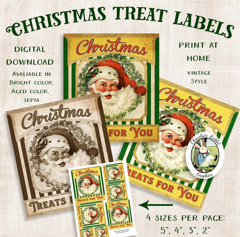 Vintage Style Christmas Labels Printable Christmas Treat Tags Digital Santa Labels Vintage Style Holiday Collage Sheet