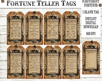 Halloween Witch Fortune Teller Tag Instant Digital Download Vintage Style Printable Collage Sheet Clip Art Party Favors Scrapbook Images