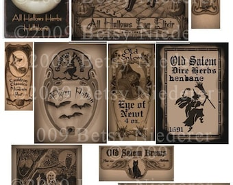 Halloween Potion Bottle Labels Witch Apothecary Digital Download Collage Sheet Scrapbooking Printable Clip Art Tags