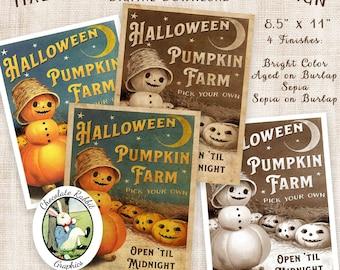 Halloween Pumpkin Farm Sign, Pumpkin Clip Art, Printable Halloween Poster