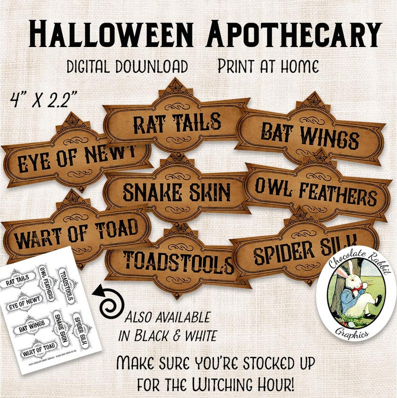 image relating to Printable Potion Labels titled Halloween Apothecary Labels Printable Potion Labels Electronic Down load Halloween Clip Artwork